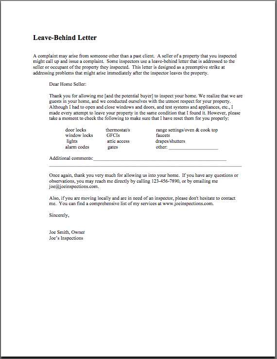Leave behind letter for home inspectors leave behind letter to seller thecheapjerseys Images