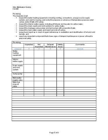 A Sample/Template Checklist For Performing A Home Maintenance