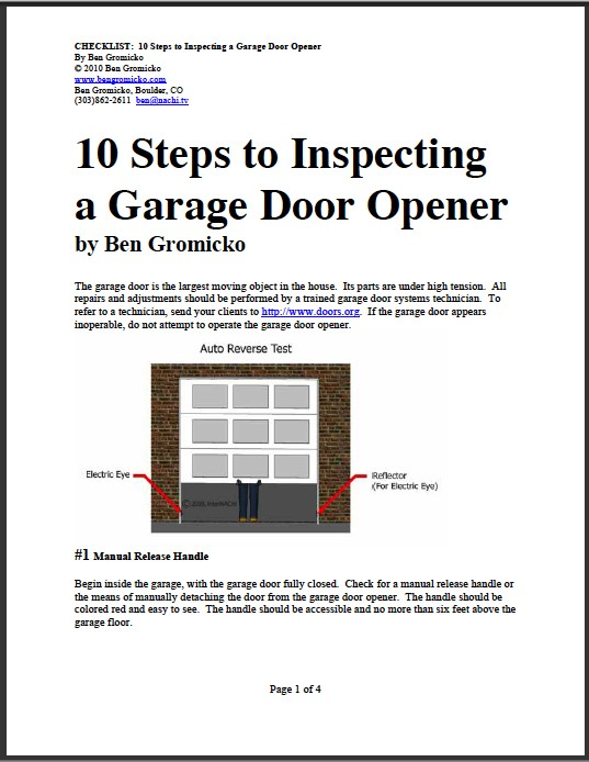 Checklist for inspecting a garage door opener - Reasons inspect garage door ...